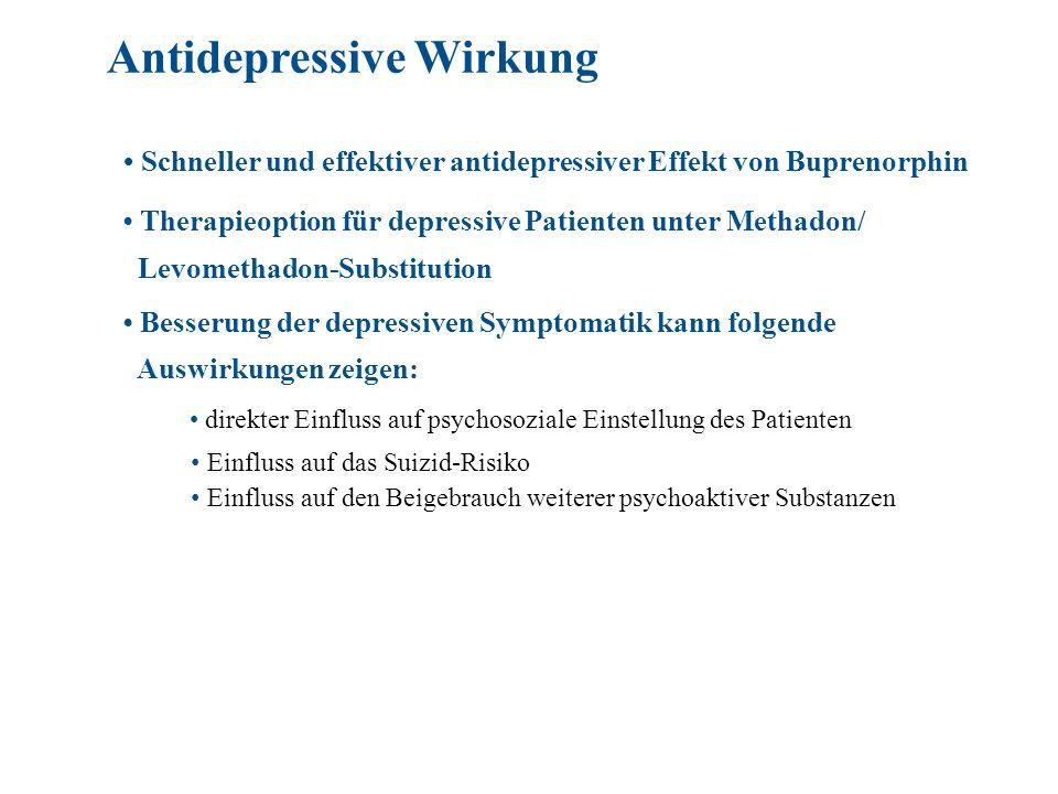 Schneller und effektiver antidepressiver Effekt von Buprenorphin Therapieoption für depressive Patienten unter Methadon/ Levomethadon-Substitution Bes