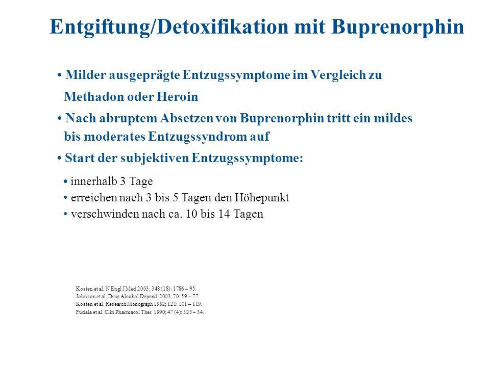 Milder ausgeprägte Entzugssymptome im Vergleich zu Methadon oder Heroin Nach abruptem Absetzen von Buprenorphin tritt ein mildes bis moderates Entzugs