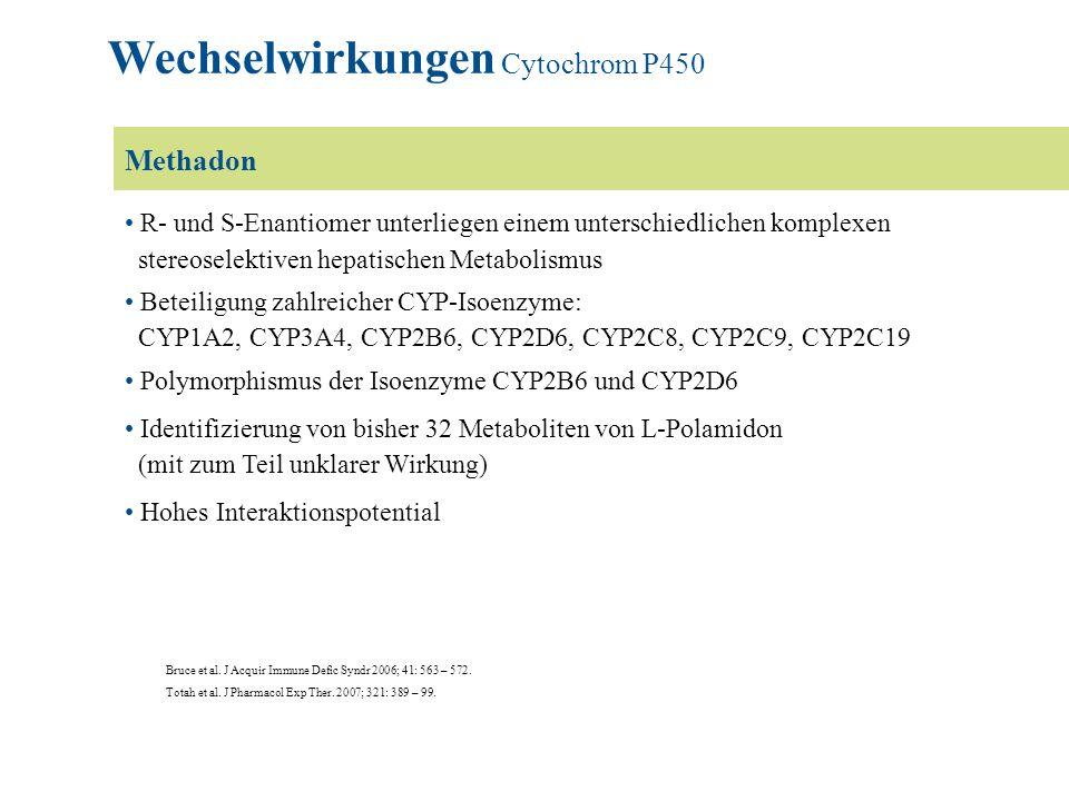 Methadon R- und S-Enantiomer unterliegen einem unterschiedlichen komplexen stereoselektiven hepatischen Metabolismus Beteiligung zahlreicher CYP-Isoen