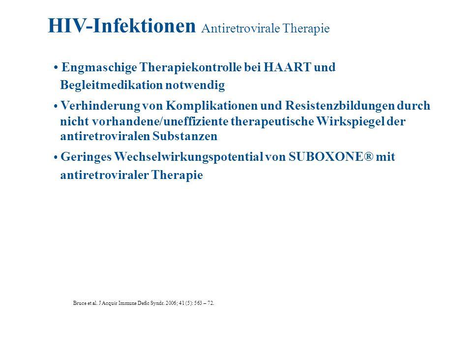 Engmaschige Therapiekontrolle bei HAART und Begleitmedikation notwendig Verhinderung von Komplikationen und Resistenzbildungen durch nicht vorhandene/