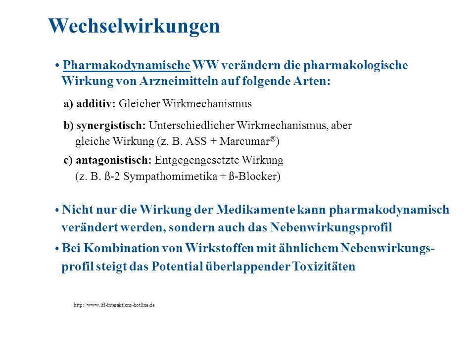 Pharmakodynamische WW verändern die pharmakologische Wirkung von Arzneimitteln auf folgende Arten: a) additiv: Gleicher Wirkmechanismus b) synergistis