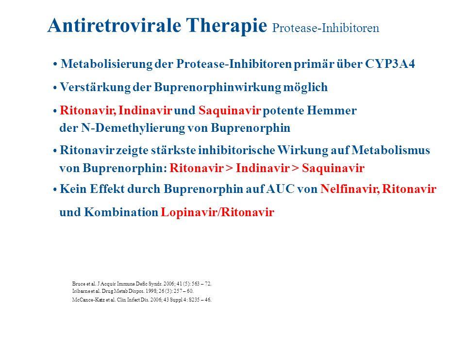 Metabolisierung der Protease-Inhibitoren primär über CYP3A4 Verstärkung der Buprenorphinwirkung möglich Ritonavir, Indinavir und Saquinavir potente He