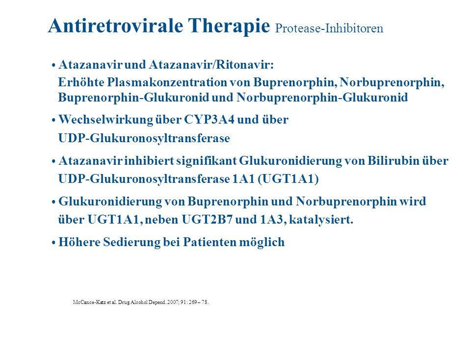 Atazanavir und Atazanavir/Ritonavir: Erhöhte Plasmakonzentration von Buprenorphin, Norbuprenorphin, Buprenorphin-Glukuronid und Norbuprenorphin-Glukur
