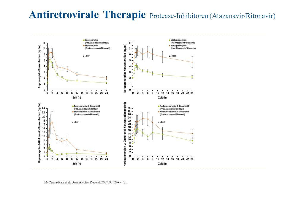 McCance-Katz et al. Drug Alcohol Depend. 2007; 91: 269 – 78. Antiretrovirale Therapie Protease-Inhibitoren (Atazanavir/Ritonavir)