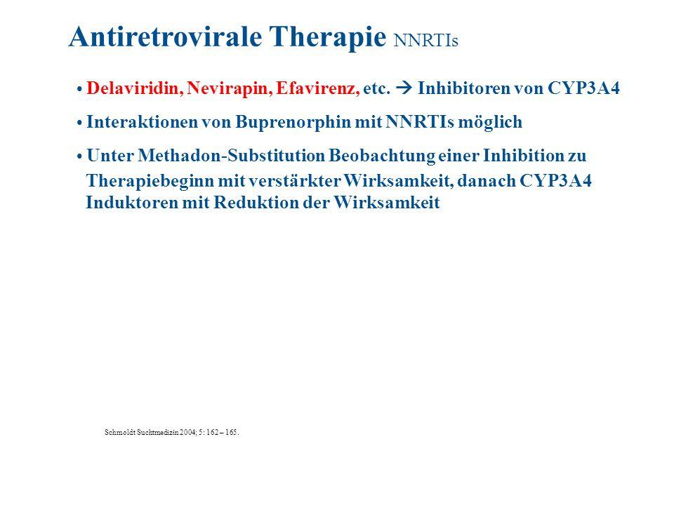 Delaviridin, Nevirapin, Efavirenz, etc. Inhibitoren von CYP3A4 Interaktionen von Buprenorphin mit NNRTIs möglich Unter Methadon-Substitution Beobachtu