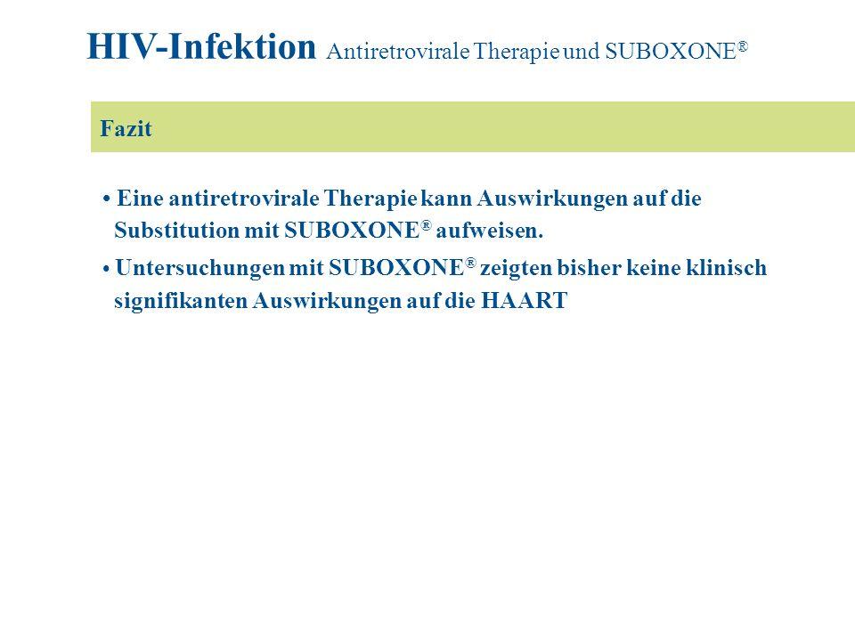 Eine antiretrovirale Therapie kann Auswirkungen auf die Substitution mit SUBOXONE ® aufweisen. Untersuchungen mit SUBOXONE ® zeigten bisher keine klin