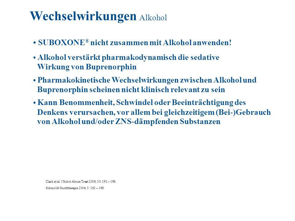 SUBOXONE ® nicht zusammen mit Alkohol anwenden! Alkohol verstärkt pharmakodynamisch die sedative Wirkung von Buprenorphin Pharmakokinetische Wechselwi