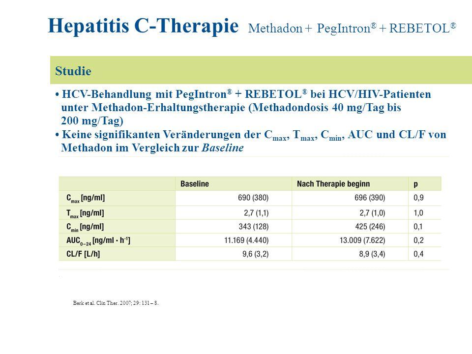 HCV-Behandlung mit PegIntron ® + REBETOL ® bei HCV/HIV-Patienten unter Methadon-Erhaltungstherapie (Methadondosis 40 mg/Tag bis 200 mg/Tag) Keine sign