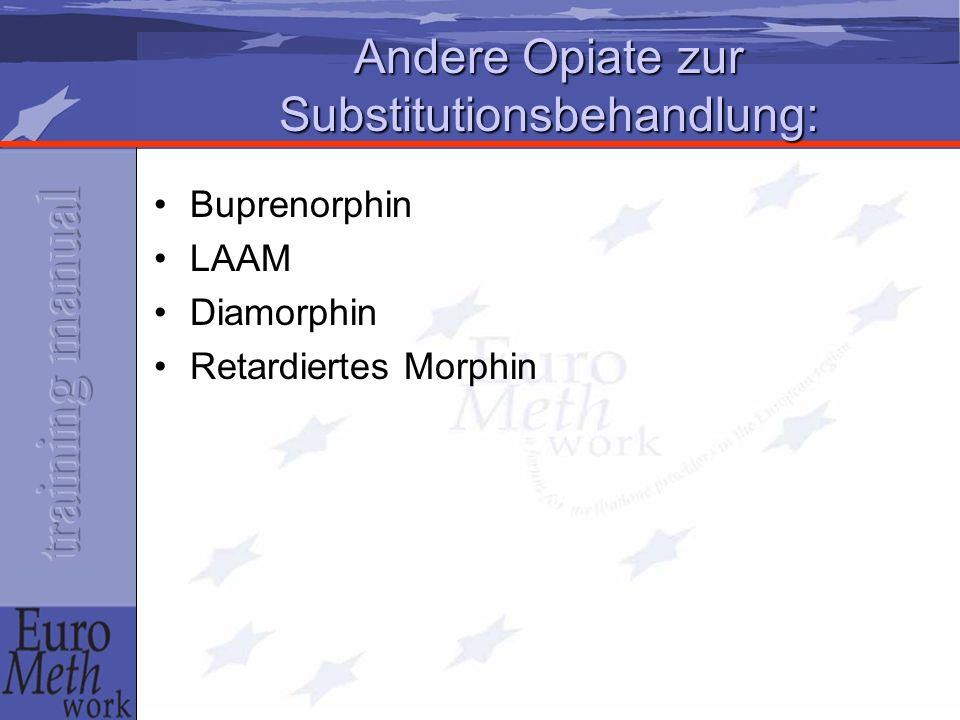 Andere Opiate zur Substitutionsbehandlung: Buprenorphin LAAM Diamorphin Retardiertes Morphin