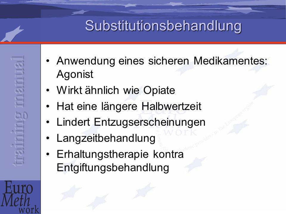 Substitutionsbehandlung Anwendung eines sicheren Medikamentes: Agonist Wirkt ähnlich wie Opiate Hat eine längere Halbwertzeit Lindert Entzugserscheinu