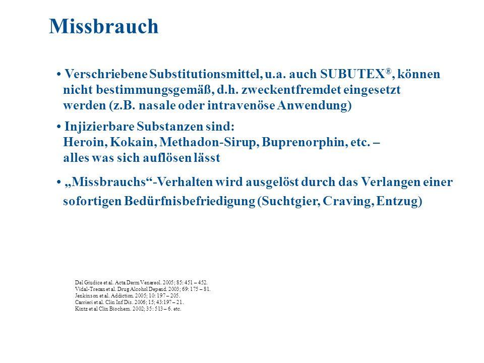 Verschriebene Substitutionsmittel, u.a. auch SUBUTEX ®, können nicht bestimmungsgemäß, d.h. zweckentfremdet eingesetzt werden (z.B. nasale oder intrav