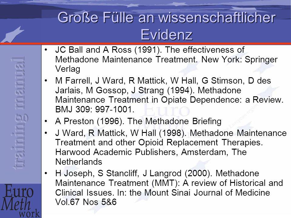 Große Fülle an wissenschaftlicher Evidenz JC Ball and A Ross (1991). The effectiveness of Methadone Maintenance Treatment. New York: Springer Verlag M