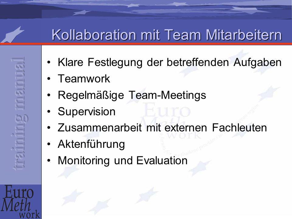 Kollaboration mit Team Mitarbeitern Klare Festlegung der betreffenden Aufgaben Teamwork Regelmäßige Team-Meetings Supervision Zusammenarbeit mit externen Fachleuten Aktenführung Monitoring und Evaluation