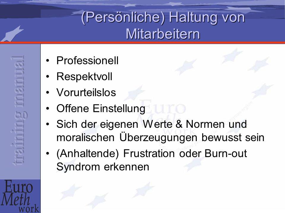 (Persönliche) Haltung von Mitarbeitern Professionell Respektvoll Vorurteilslos Offene Einstellung Sich der eigenen Werte & Normen und moralischen Überzeugungen bewusst sein (Anhaltende) Frustration oder Burn-out Syndrom erkennen
