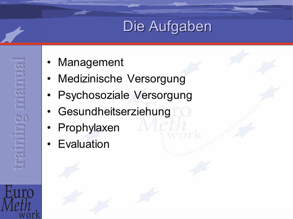 Die Aufgaben Management Medizinische Versorgung Psychosoziale Versorgung Gesundheitserziehung Prophylaxen Evaluation