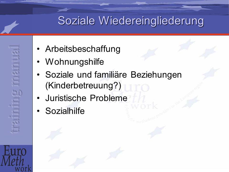 Soziale Wiedereingliederung Arbeitsbeschaffung Wohnungshilfe Soziale und familiäre Beziehungen (Kinderbetreuung ) Juristische Probleme Sozialhilfe