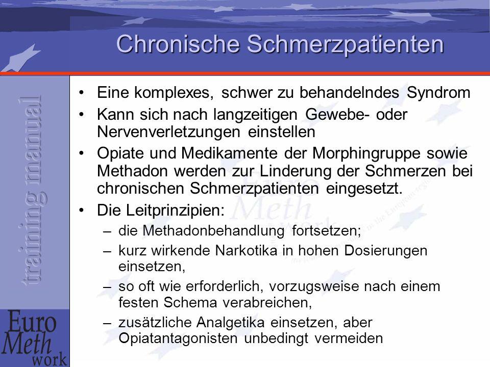 Chronische Schmerzpatienten Eine komplexes, schwer zu behandelndes Syndrom Kann sich nach langzeitigen Gewebe- oder Nervenverletzungen einstellen Opiate und Medikamente der Morphingruppe sowie Methadon werden zur Linderung der Schmerzen bei chronischen Schmerzpatienten eingesetzt.