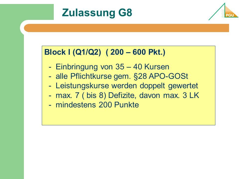 Zulassung G8 Block I (Q1/Q2) ( 200 – 600 Pkt.) - Einbringung von 35 – 40 Kursen - alle Pflichtkurse gem.