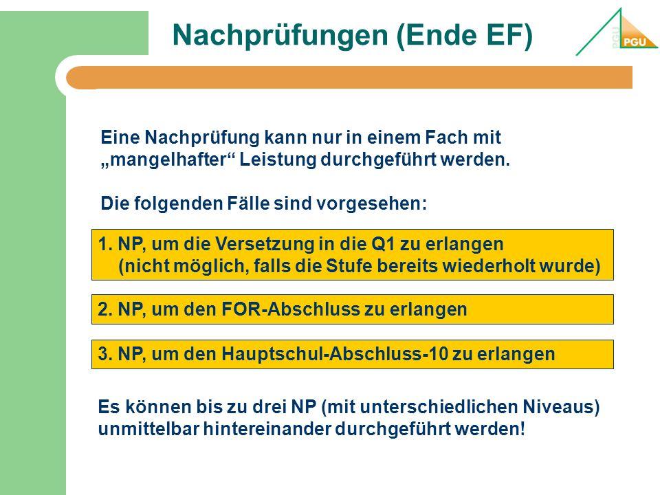 Nachprüfungen (Ende EF) 1. NP, um die Versetzung in die Q1 zu erlangen (nicht möglich, falls die Stufe bereits wiederholt wurde) Eine Nachprüfung kann