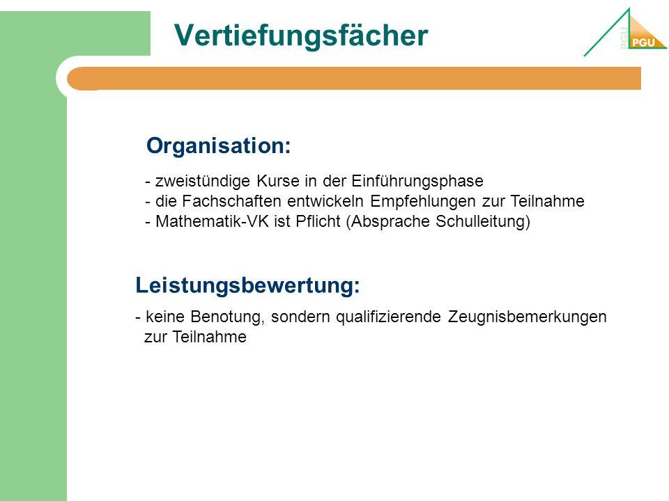 Vertiefungsfächer - zweistündige Kurse in der Einführungsphase - die Fachschaften entwickeln Empfehlungen zur Teilnahme - Mathematik-VK ist Pflicht (A