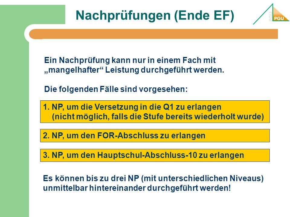 Nachprüfungen (Ende EF) 1. NP, um die Versetzung in die Q1 zu erlangen (nicht möglich, falls die Stufe bereits wiederholt wurde) Ein Nachprüfung kann