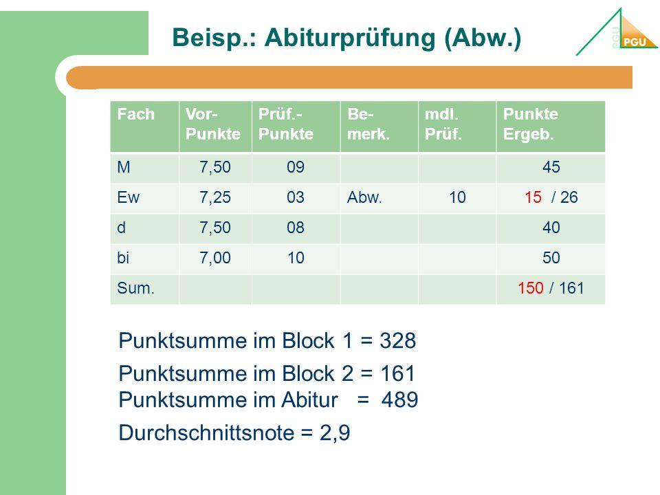 Beisp.: Abiturprüfung (Abw.) FachVor- Punkte Prüf.- Punkte Be- merk. mdl. Prüf. Punkte Ergeb. M7,500945 Ew7,2503Abw.1015 / 26 d7,500840 bi7,001050 Sum