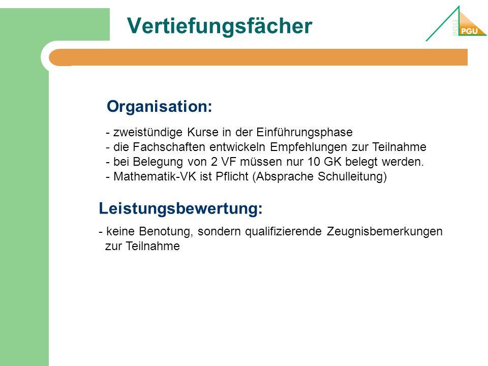 Vertiefungsfächer - zweistündige Kurse in der Einführungsphase - die Fachschaften entwickeln Empfehlungen zur Teilnahme - bei Belegung von 2 VF müssen
