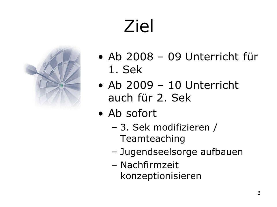 3 Ziel Ab 2008 – 09 Unterricht für 1. Sek Ab 2009 – 10 Unterricht auch für 2.