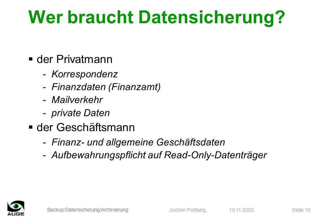Backup/Datensicherung/Archivierung Jochen Poßberg, 15.11.2003 Seite 10 Wer braucht Datensicherung? der Privatmann -Korrespondenz -Finanzdaten (Finanza