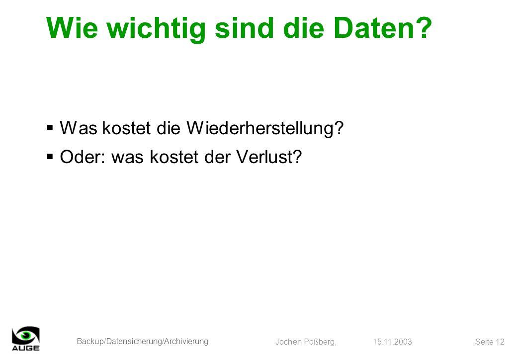 Backup/Datensicherung/Archivierung Jochen Poßberg, 15.11.2003 Seite 12 Wie wichtig sind die Daten? Was kostet die Wiederherstellung? Oder: was kostet