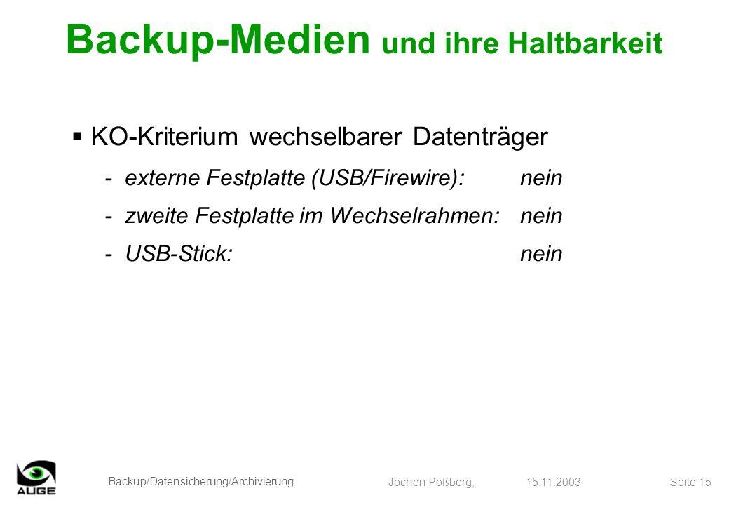 Backup/Datensicherung/Archivierung Jochen Poßberg, 15.11.2003 Seite 15 KO-Kriterium wechselbarer Datenträger -externe Festplatte (USB/Firewire):nein -