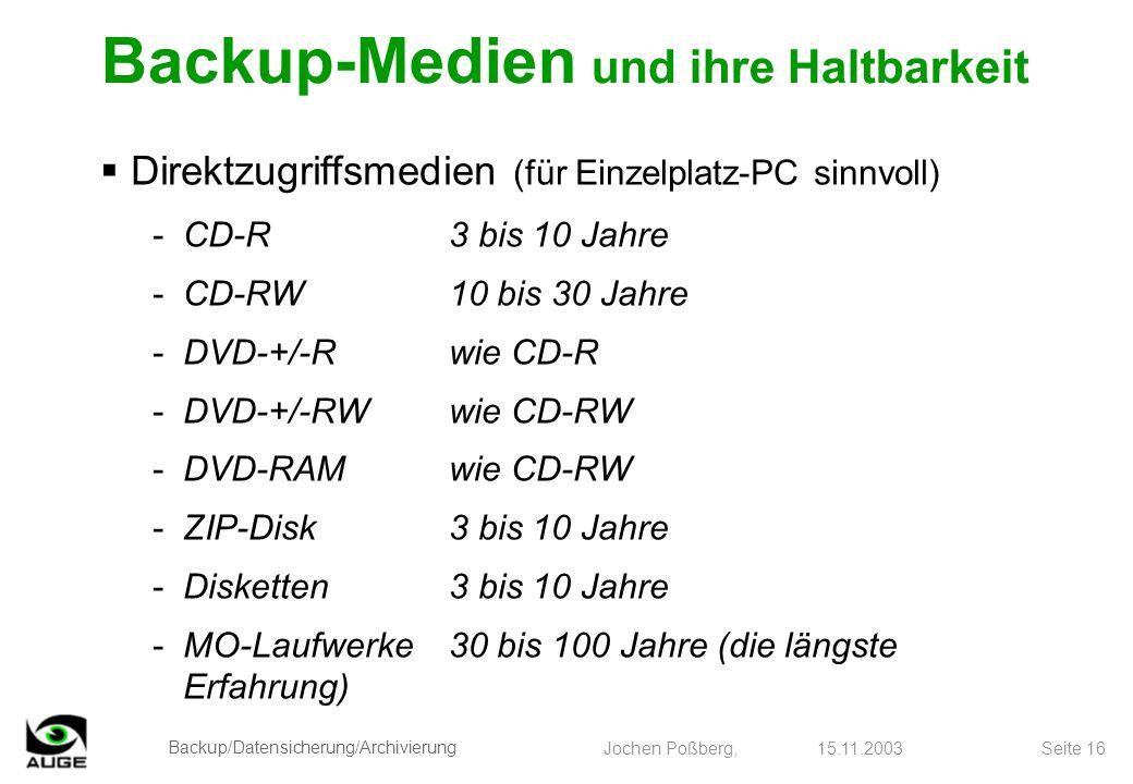 Backup/Datensicherung/Archivierung Jochen Poßberg, 15.11.2003 Seite 16 Direktzugriffsmedien (für Einzelplatz-PC sinnvoll) -CD-R3 bis 10 Jahre -CD-RW10