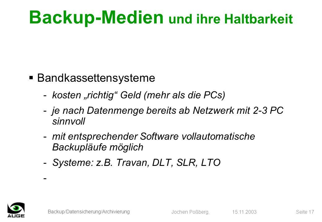 Backup/Datensicherung/Archivierung Jochen Poßberg, 15.11.2003 Seite 17 Bandkassettensysteme -kosten richtig Geld (mehr als die PCs) -je nach Datenmeng