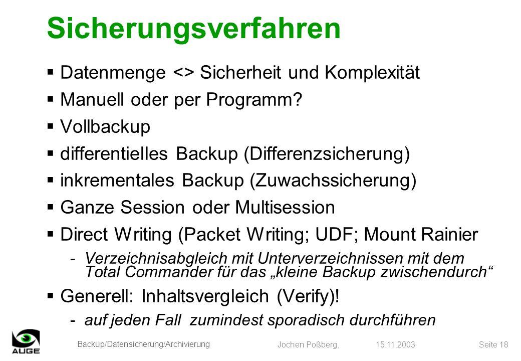 Backup/Datensicherung/Archivierung Jochen Poßberg, 15.11.2003 Seite 18 Sicherungsverfahren Datenmenge <> Sicherheit und Komplexität Manuell oder per P