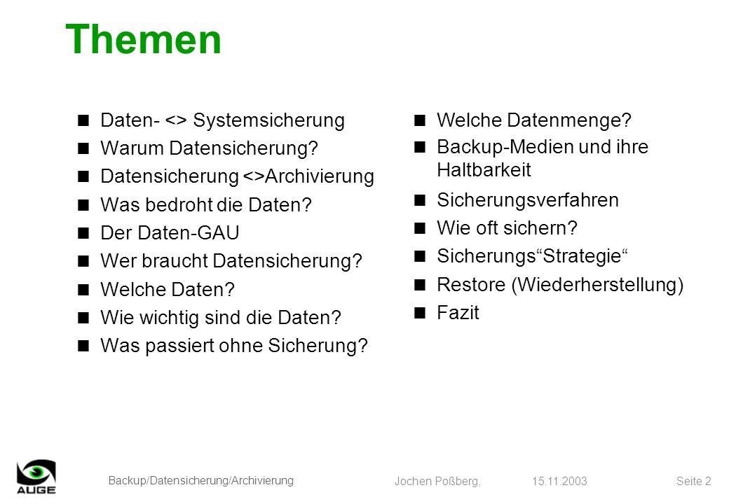 Backup/Datensicherung/Archivierung Jochen Poßberg, 15.11.2003 Seite 3 Daten- <> Systemsicherung Datensicherung -betrifft alle vom Anwender gespeicherten Daten -wird hier behandelt Systemsicherung -betrifft das Betriebssystem und seine Zugaben -hier nur Verweis auf c´t 23/03, ab Seite 130.