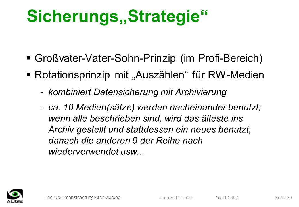 Backup/Datensicherung/Archivierung Jochen Poßberg, 15.11.2003 Seite 20 SicherungsStrategie Großvater-Vater-Sohn-Prinzip (im Profi-Bereich) Rotationspr