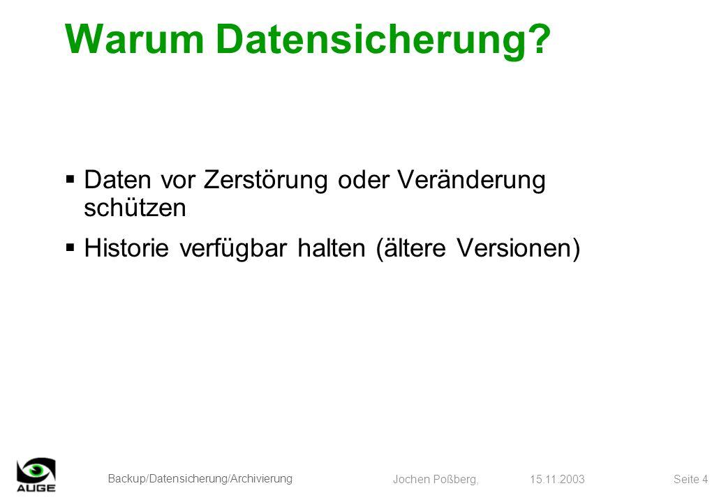 Backup/Datensicherung/Archivierung Jochen Poßberg, 15.11.2003 Seite 4 Warum Datensicherung? Daten vor Zerstörung oder Veränderung schützen Historie ve