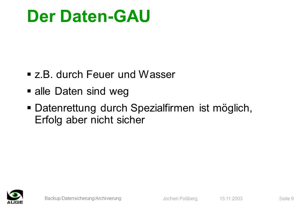 Backup/Datensicherung/Archivierung Jochen Poßberg, 15.11.2003 Seite 9 Der Daten-GAU z.B. durch Feuer und Wasser alle Daten sind weg Datenrettung durch