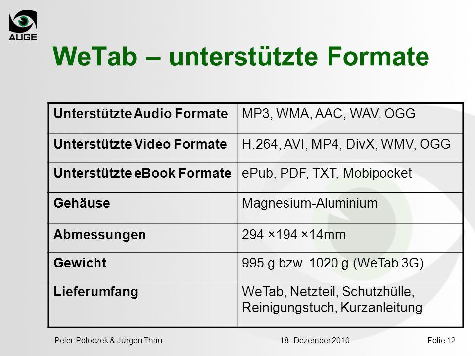 WeTab – unterstützte Formate Unterstützte Audio FormateMP3, WMA, AAC, WAV, OGG Unterstützte Video FormateH.264, AVI, MP4, DivX, WMV, OGG Unterstützte