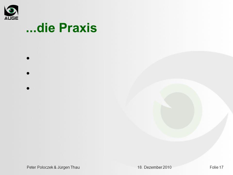 Folie 17...die Praxis 18. Dezember 2010Peter Poloczek & Jürgen Thau