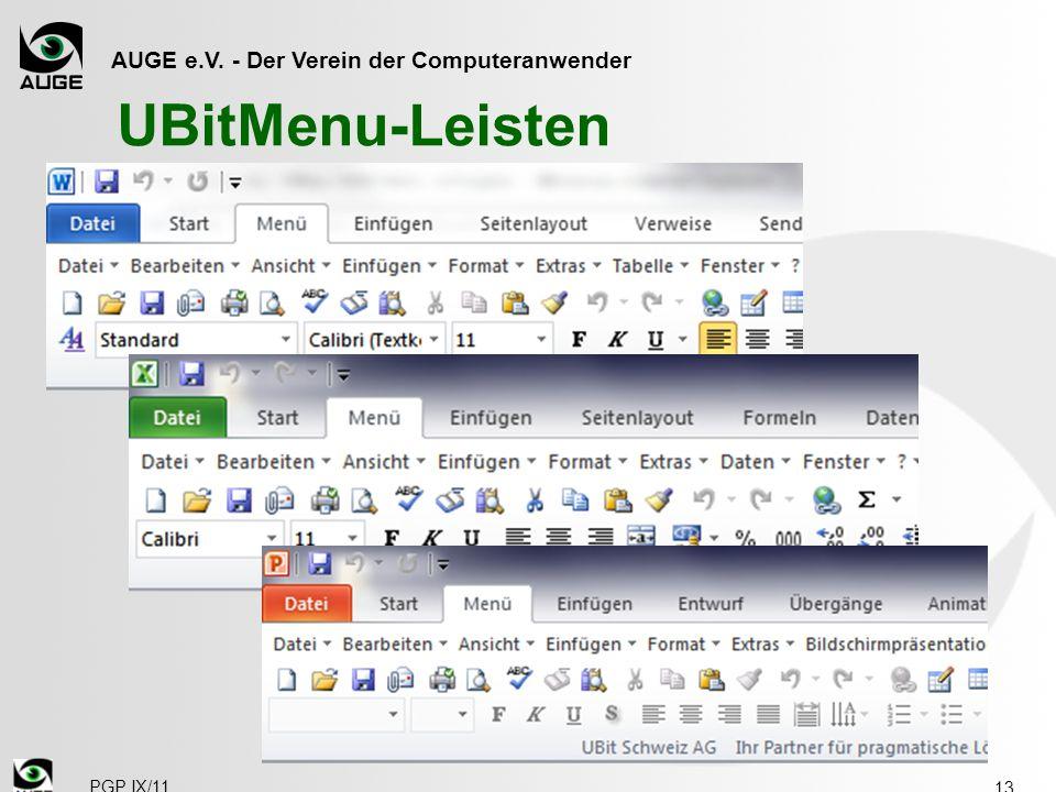 AUGE e.V. - Der Verein der Computeranwender PGP IX/11 UBitMenu-Leisten 13