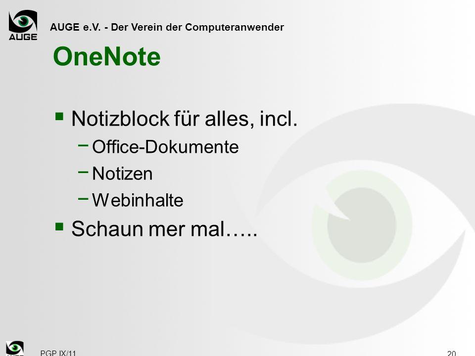 AUGE e.V. - Der Verein der Computeranwender OneNote Notizblock für alles, incl.