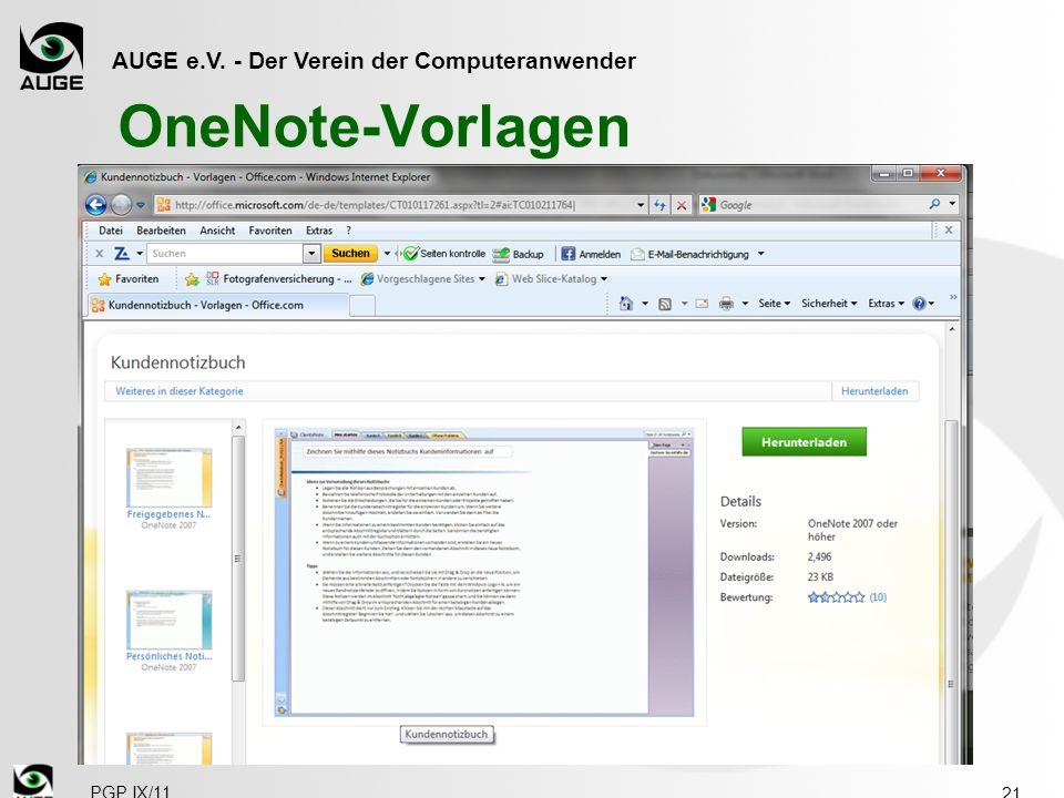 AUGE e.V. - Der Verein der Computeranwender PGP IX/11 OneNote-Vorlagen 21