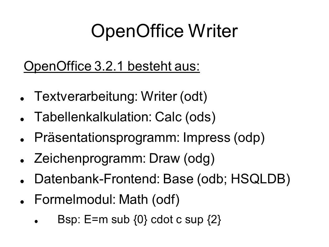 OpenOffice Writer OpenOffice 3.2.1 besteht aus: Textverarbeitung: Writer (odt) Tabellenkalkulation: Calc (ods) Präsentationsprogramm: Impress (odp) Ze