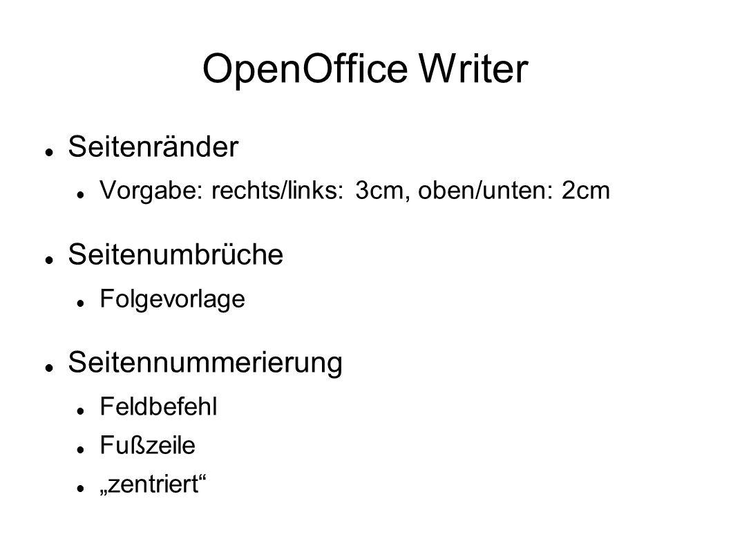 OpenOffice Writer Seitenränder Vorgabe: rechts/links: 3cm, oben/unten: 2cm Seitenumbrüche Folgevorlage Seitennummerierung Feldbefehl Fußzeile zentrier