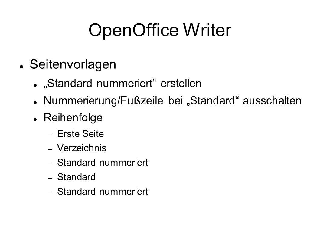 OpenOffice Writer Hilfe von OpenOffice Writer suchen nach: Inhaltsverzeichnis Inhaltsverzeichnis Einfügen - Verzeichnisse – Verzeichnisse, Register Verzeichnis, Typ Inhaltsverzeichnis Rechtsklick in das Verzeichnis Verzeichnis aktualisieren/bearbeiten/löschen Absatzvorlage bearbeiten Einzüge und Abstände: Einzug vor/hinter Text; Zeilenabstand: 1,5-zeilig