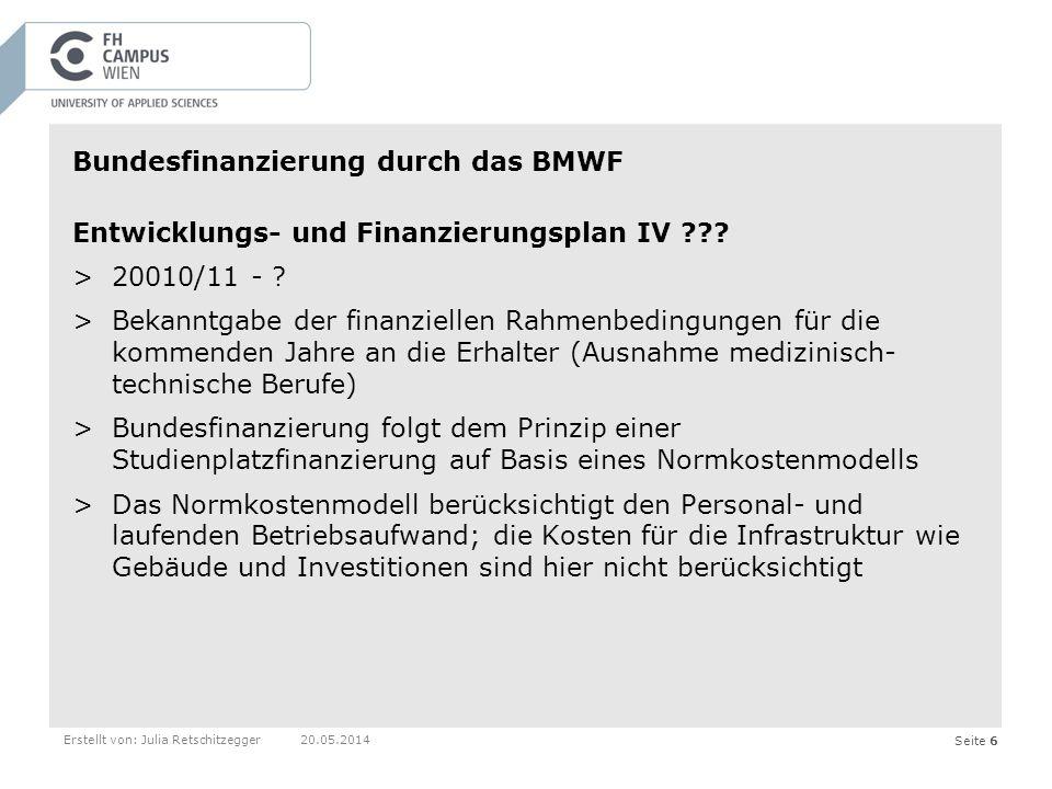 Seite 6Erstellt von: Julia Retschitzegger20.05.2014 Bundesfinanzierung durch das BMWF Entwicklungs- und Finanzierungsplan IV .
