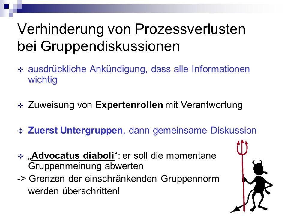 Verhinderung von Prozessverlusten bei Gruppendiskussionen ausdrückliche Ankündigung, dass alle Informationen wichtig Zuweisung von Expertenrollen mit