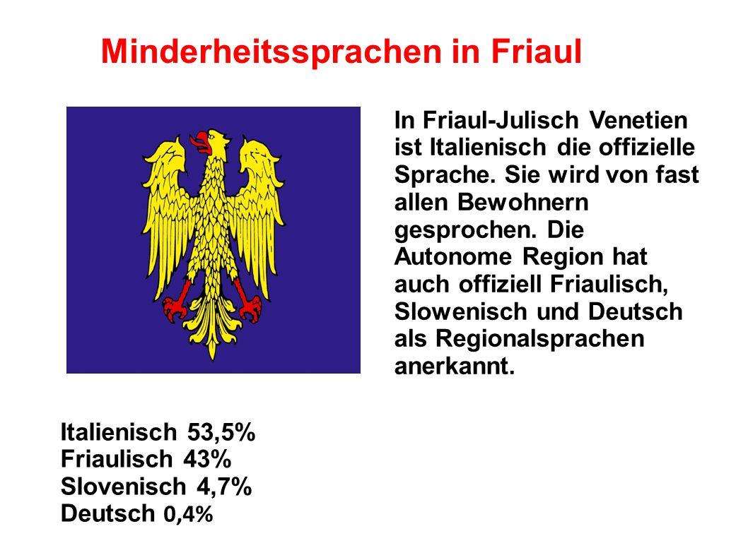 -Friaulisch wird in 125 Gemeinden der Provinz Udine, in 36 Gemeinden der Provinz Pordenone und in 15 Gemeinden der Provinz Görz geschützt
