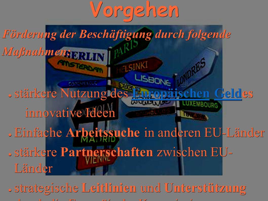 Vorgehen Förderung der Beschäftigung durch folgende Maßnahmen: stärkere Nutzung des Europäischen Geldes stärkere Nutzung des Europäischen GeldesEuropäischenGeldEuropäischenGeld innovative Ideen innovative Ideen Einfache Arbeitssuche in anderen EU-Länder Einfache Arbeitssuche in anderen EU-Länder stärkere Partnerschaften zwischen EU- Länder stärkere Partnerschaften zwischen EU- Länder strategische Leitlinien und Unterstützung durch die Europäische Kommission.